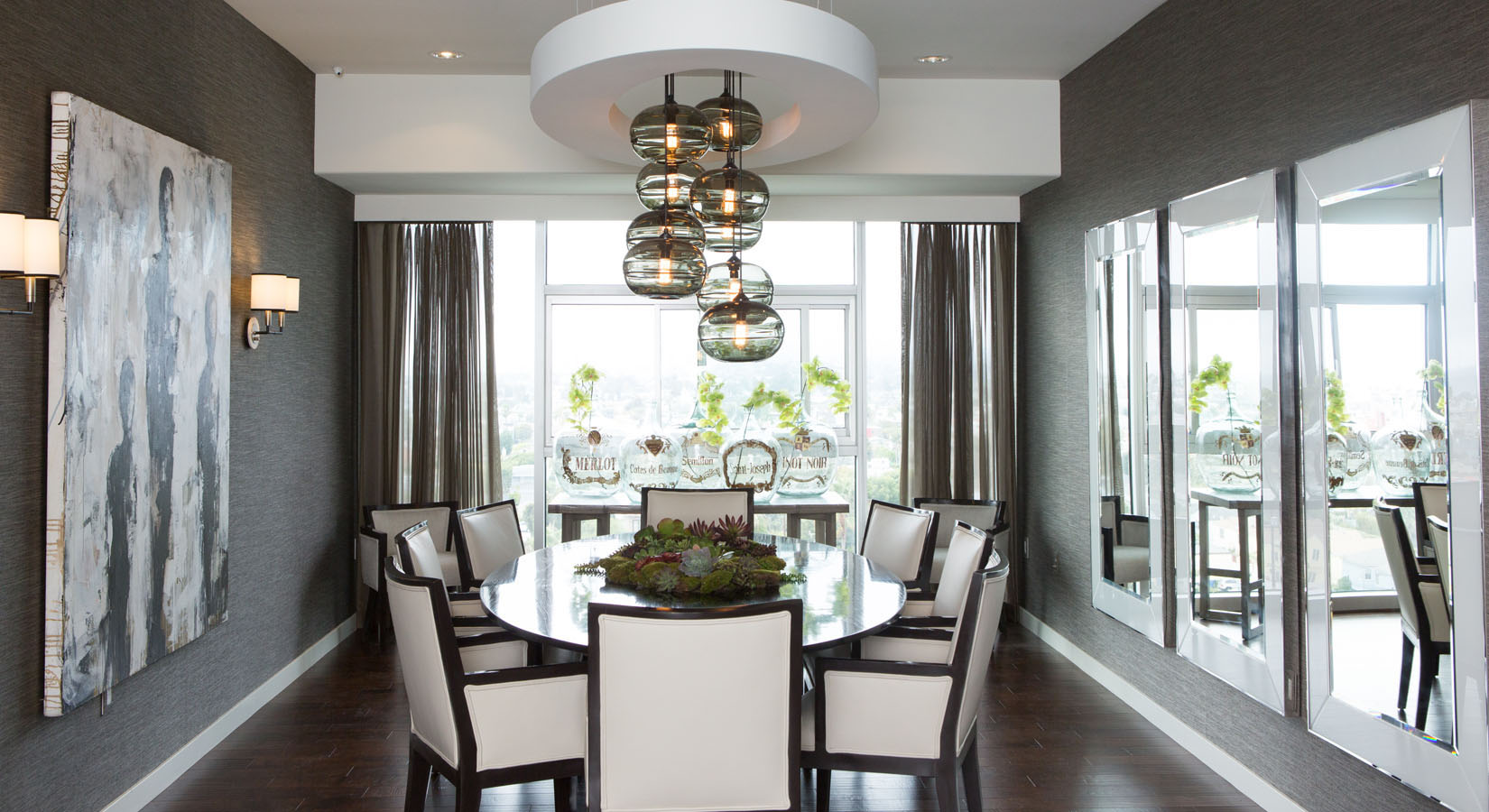 Lori dennis for Dark grey dining room ideas