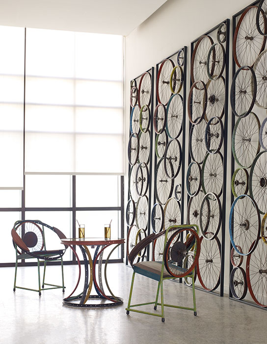 Home decor furniture phillips collection Interior Bicycle Chair Table Panel Lori Dennis Stunning And Sustainable Furniture At Phillips Collection Lori Dennis