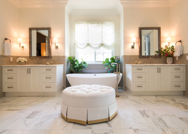 LORI DENNIS INTERIOR DESIGN BATHROOM MARBLE FLOOR DUAL VANITY