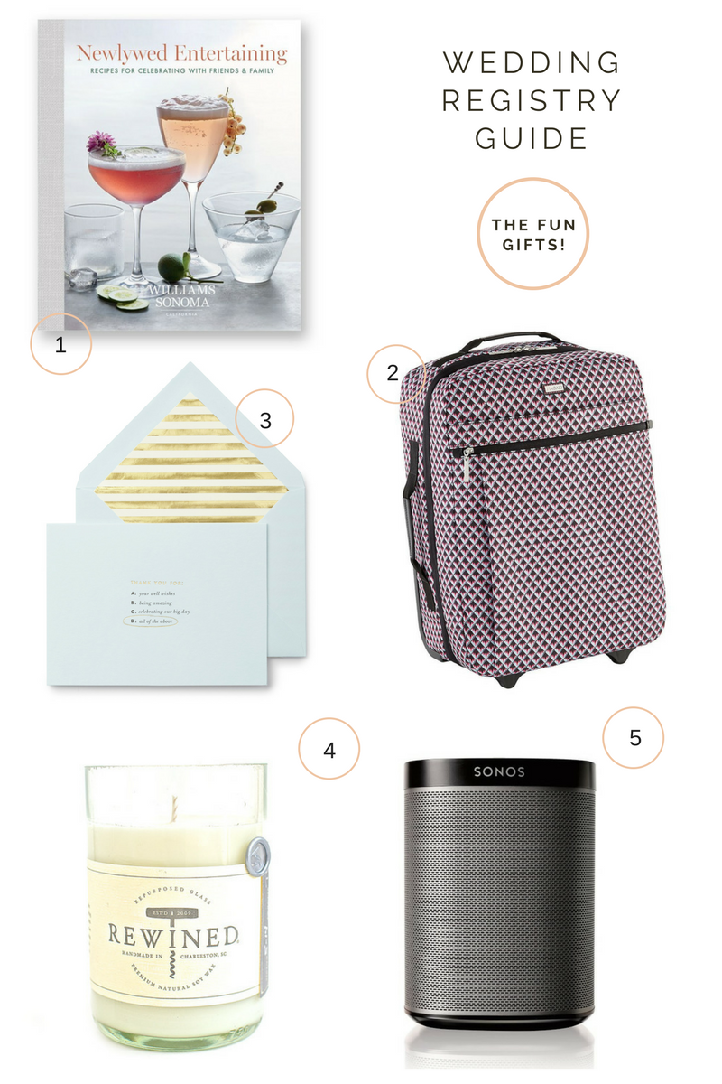 When you want to go off-registry and give a more personalized gift, think about the couples' personalities: are they world-travelers? tech-gurus? Avid readers? Travel gear, tech gadgets, coffee table books, and home scents all make for excellent, personalized gifts for newlywed couples.