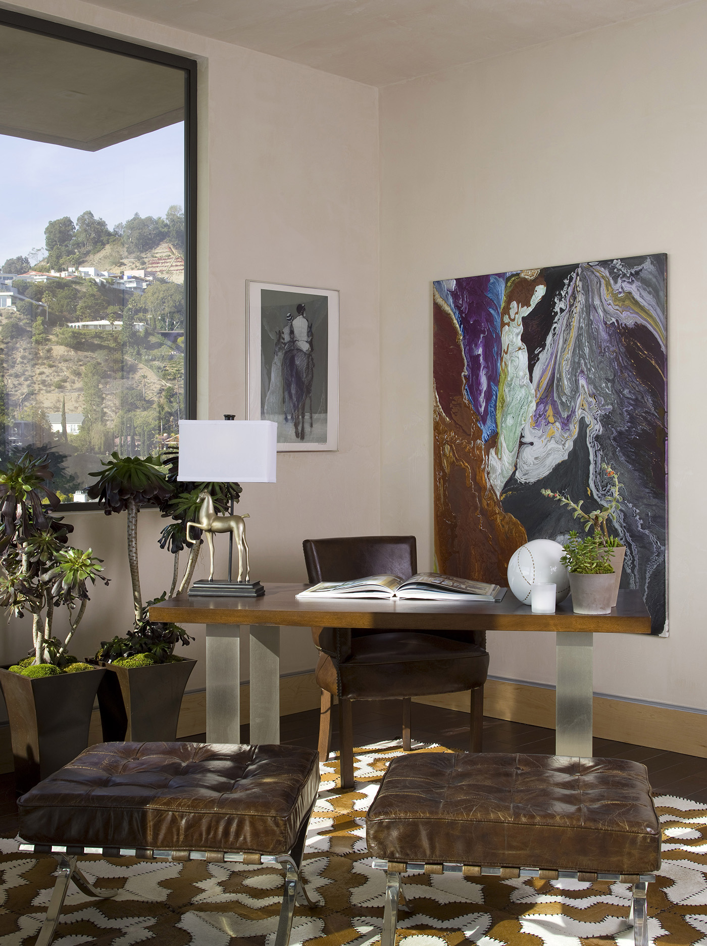 abstract art displayed in a hollywood hills office