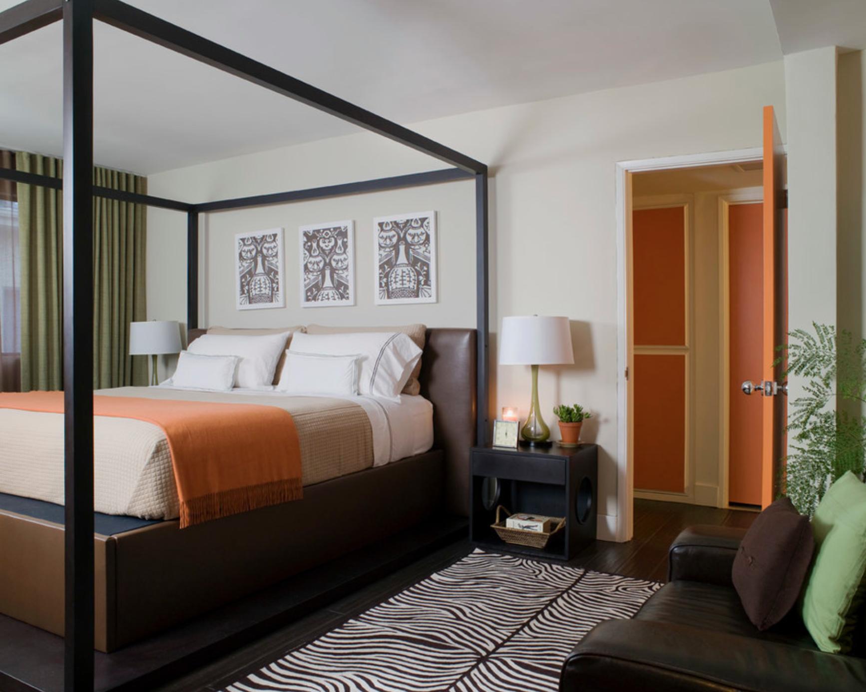 zebra print area rug in modern master bedroom