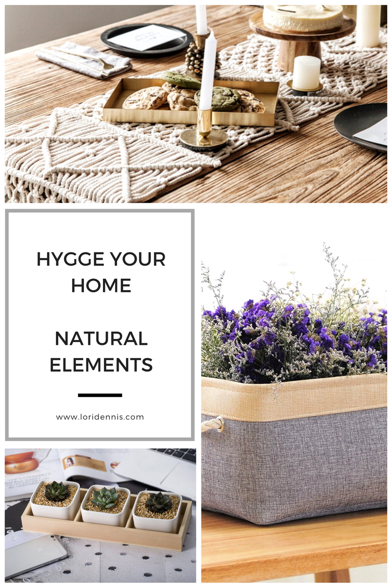 The 2nd element of any hygge space is its emphasis on natural, earth elements. Hygge color palettes are warm, inviting, feminine and are often monochromatic, warm, winter whites or pastels or earth tones.