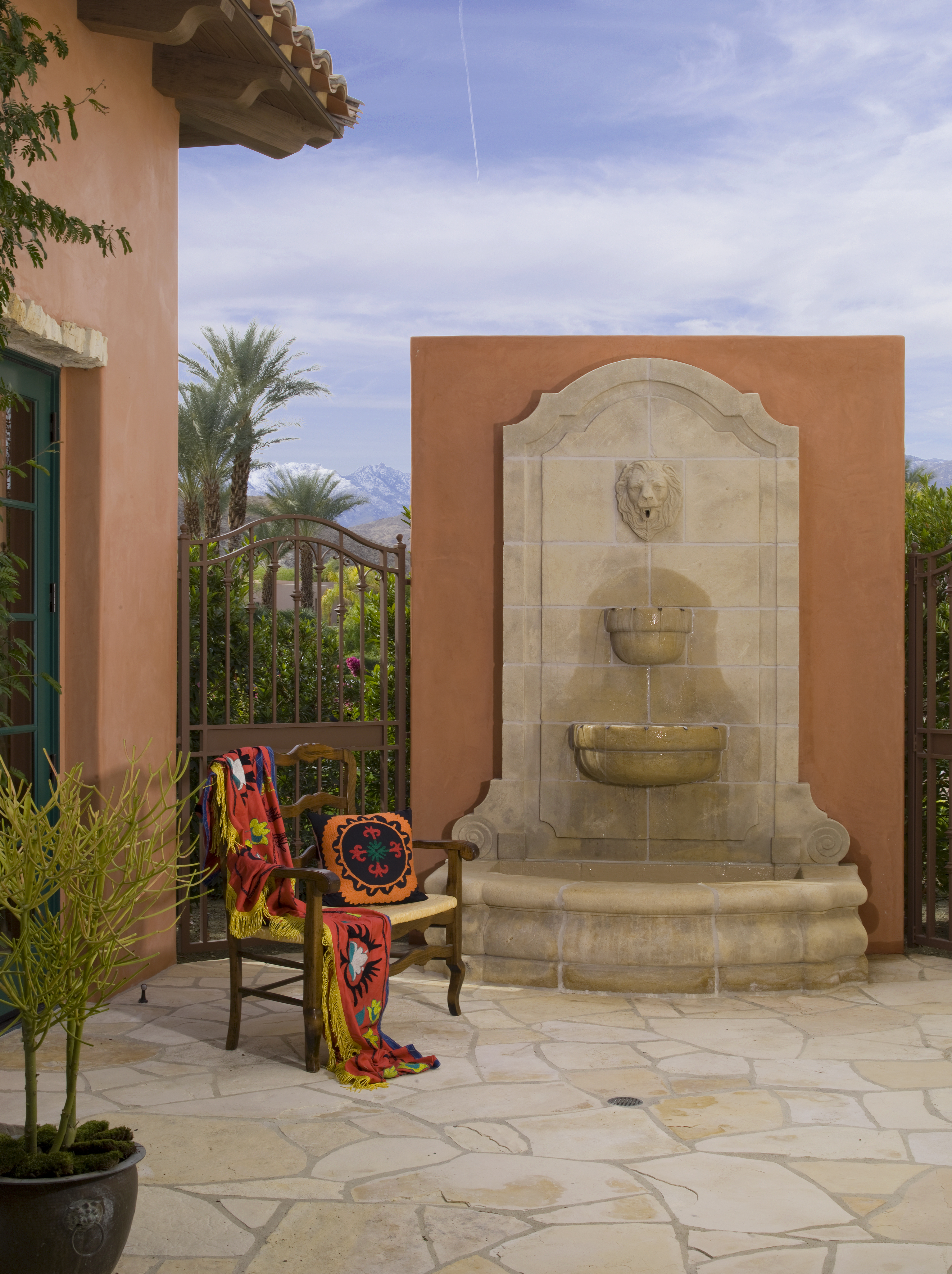 Stone Water feature in a Old World Spanish style home