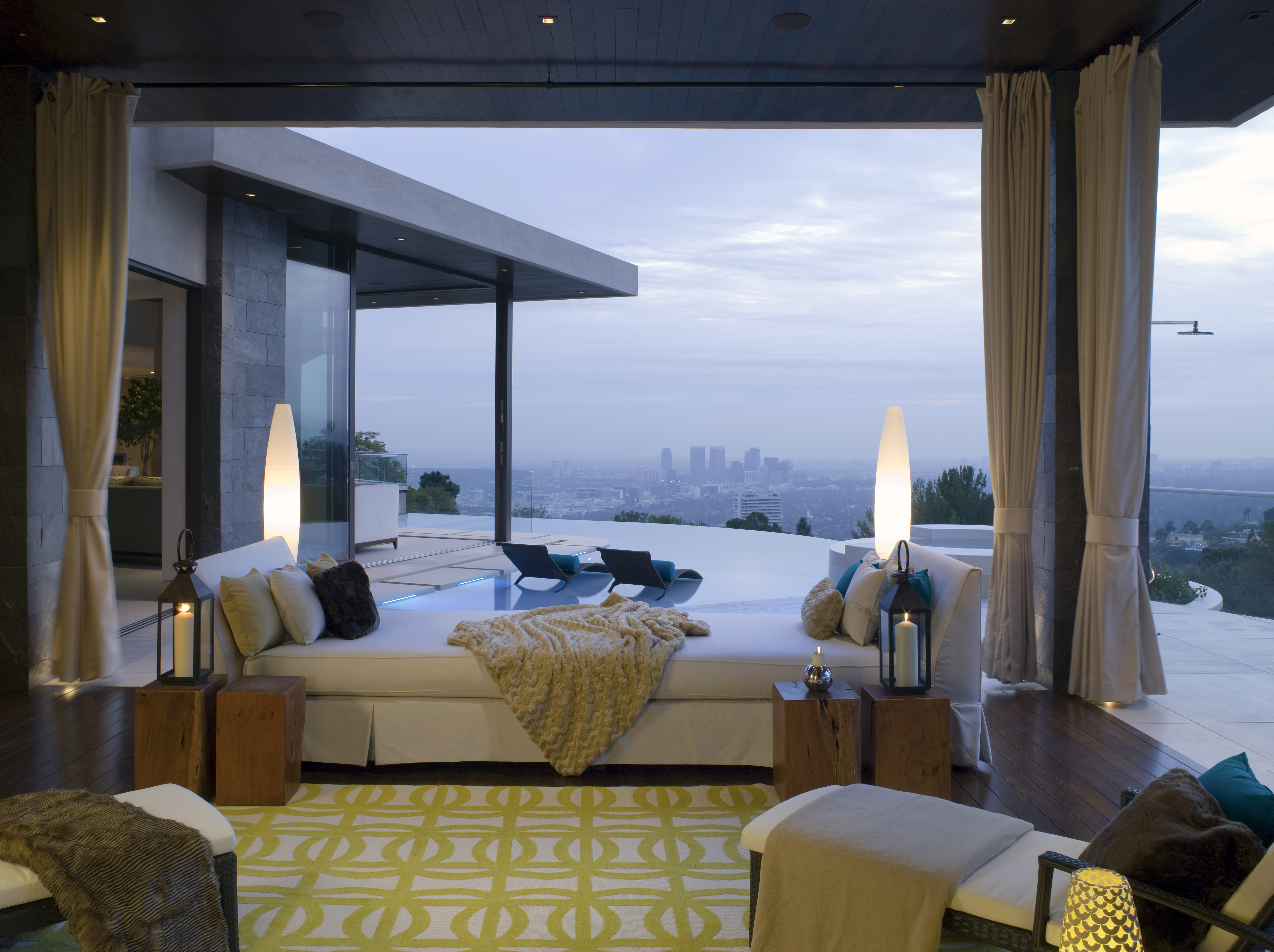 View of Los Angeles skyline from this Lori Dennis architectural property in Hollywood Hills