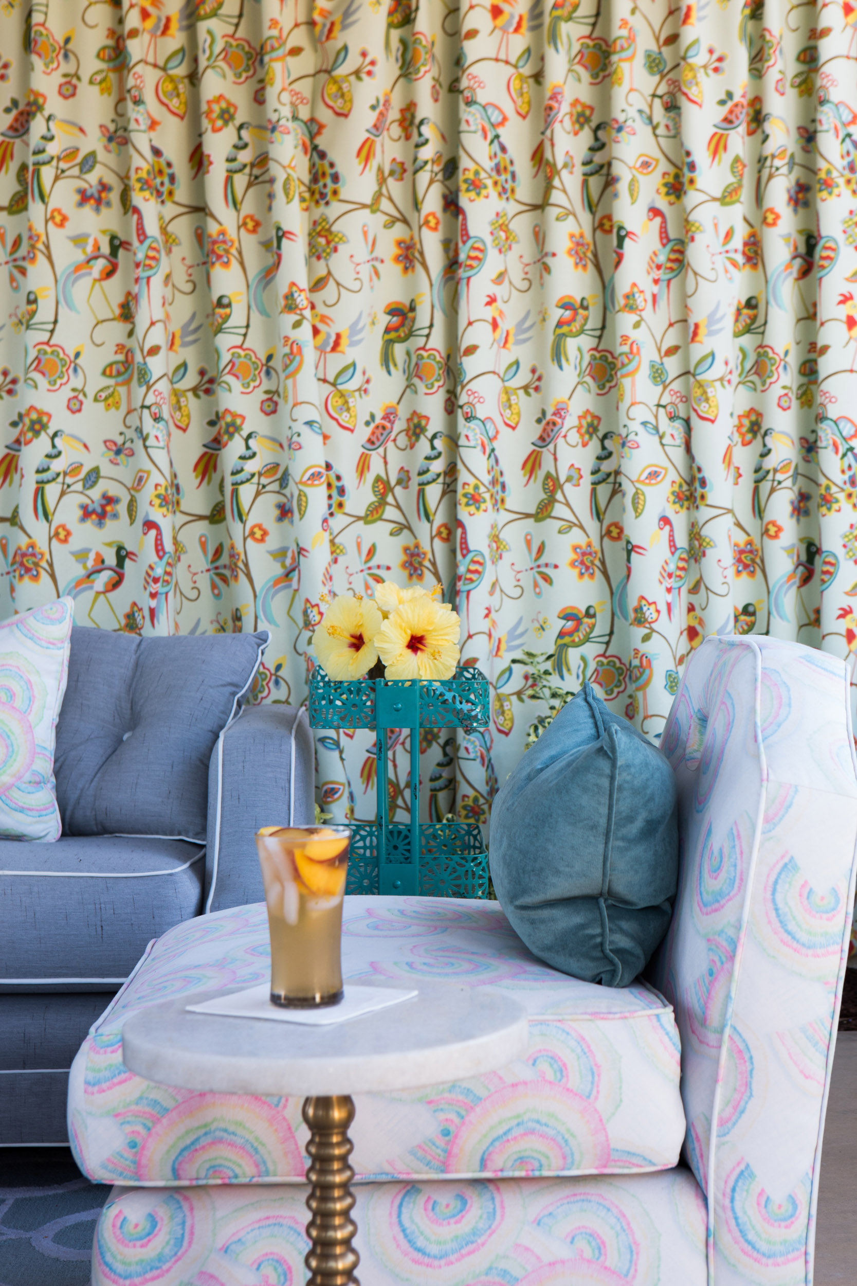 Spring outdoor fabrics make this lounge as chic as one you'd find indoors