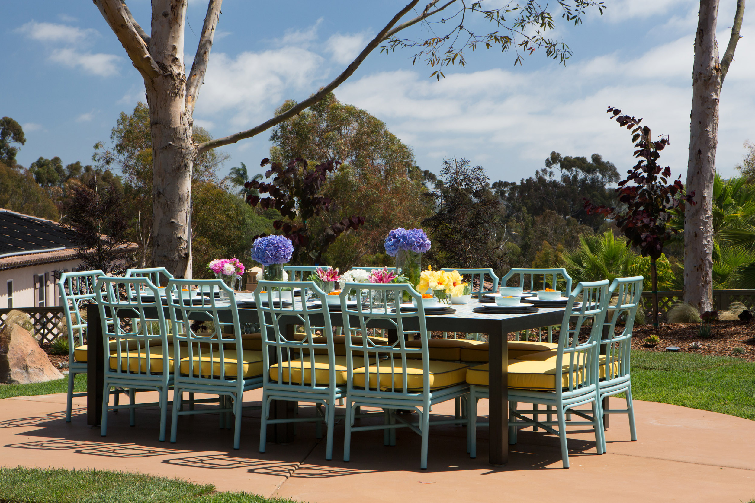 Spring Outdoor Dining Tablescape by Lori Dennis celebrity interior designer