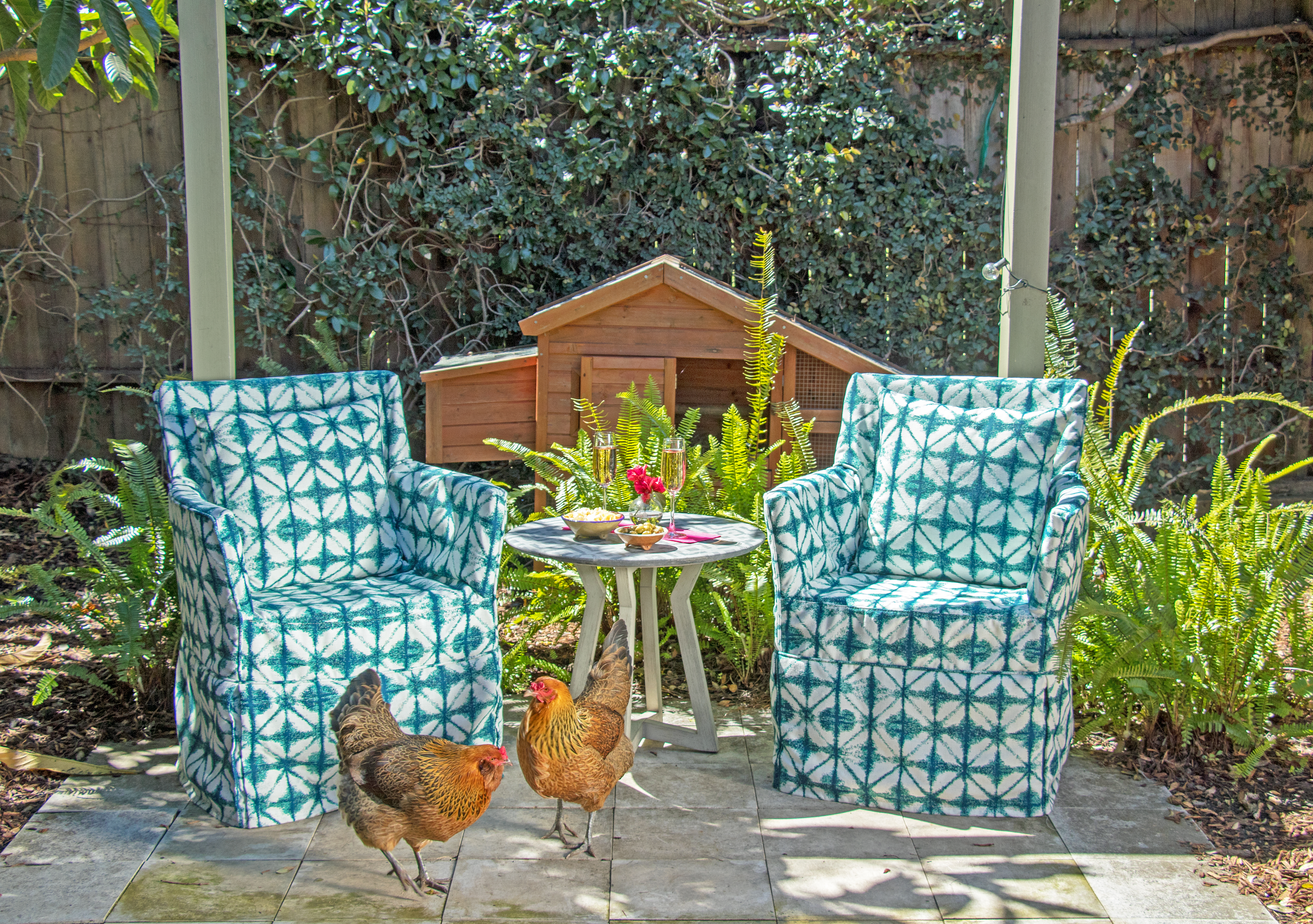 Personally, I love my backyard chickens --all the hipsters are doing it! But creating a space for any outdoor pets to roam is a must.