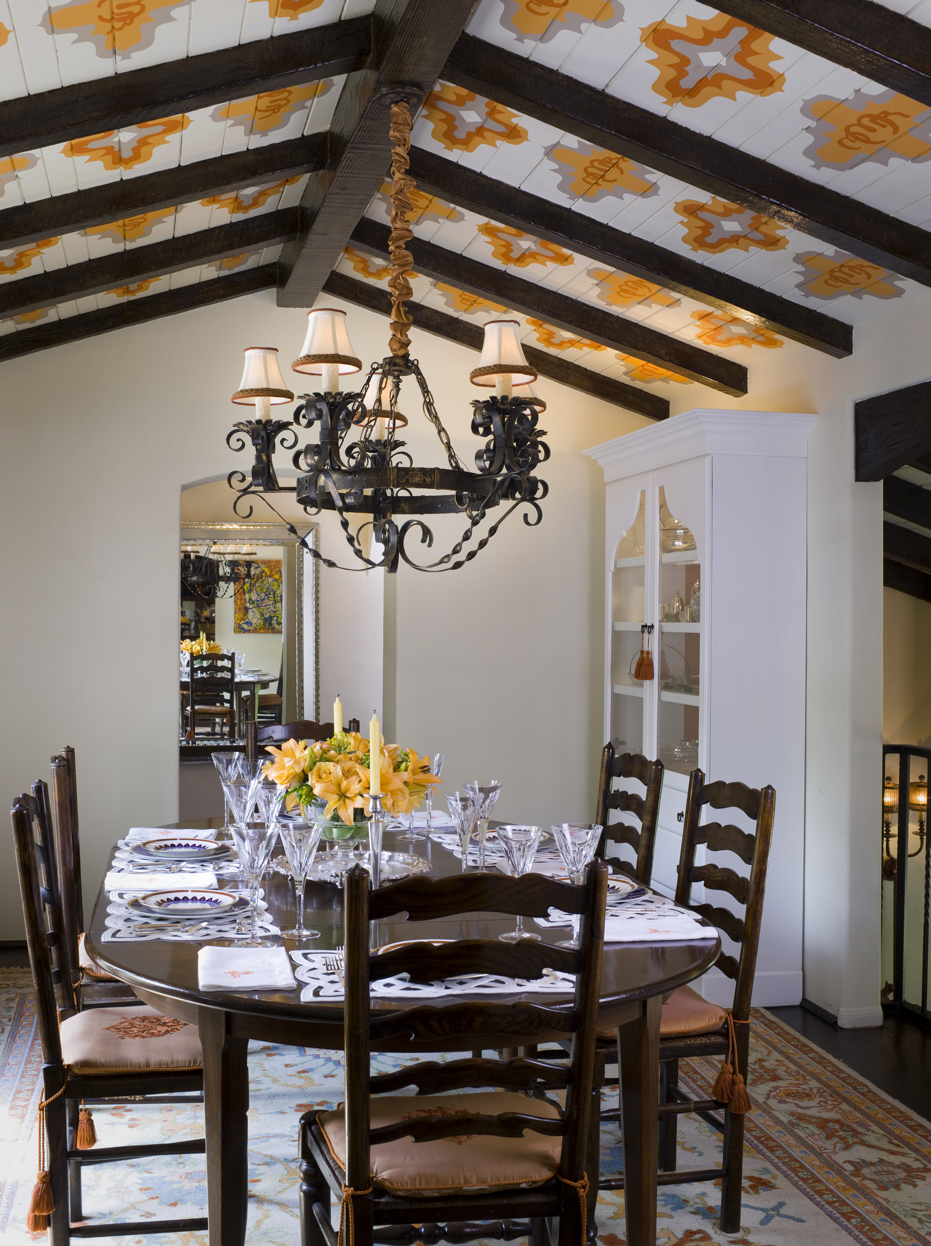 Ceiling Detail in Spanish dining room