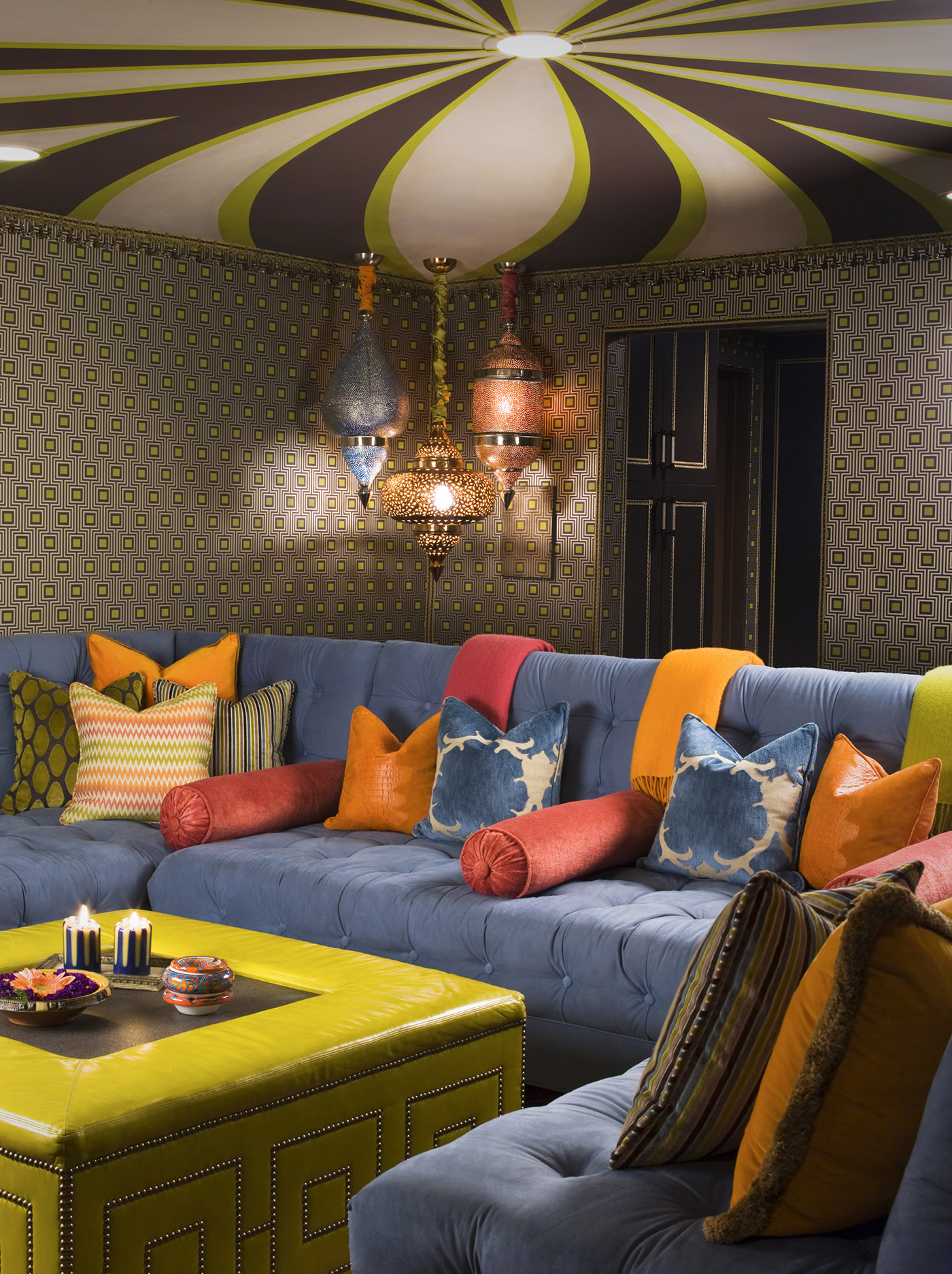 Colorful interior design ideas for media room in our Hip Hacienda