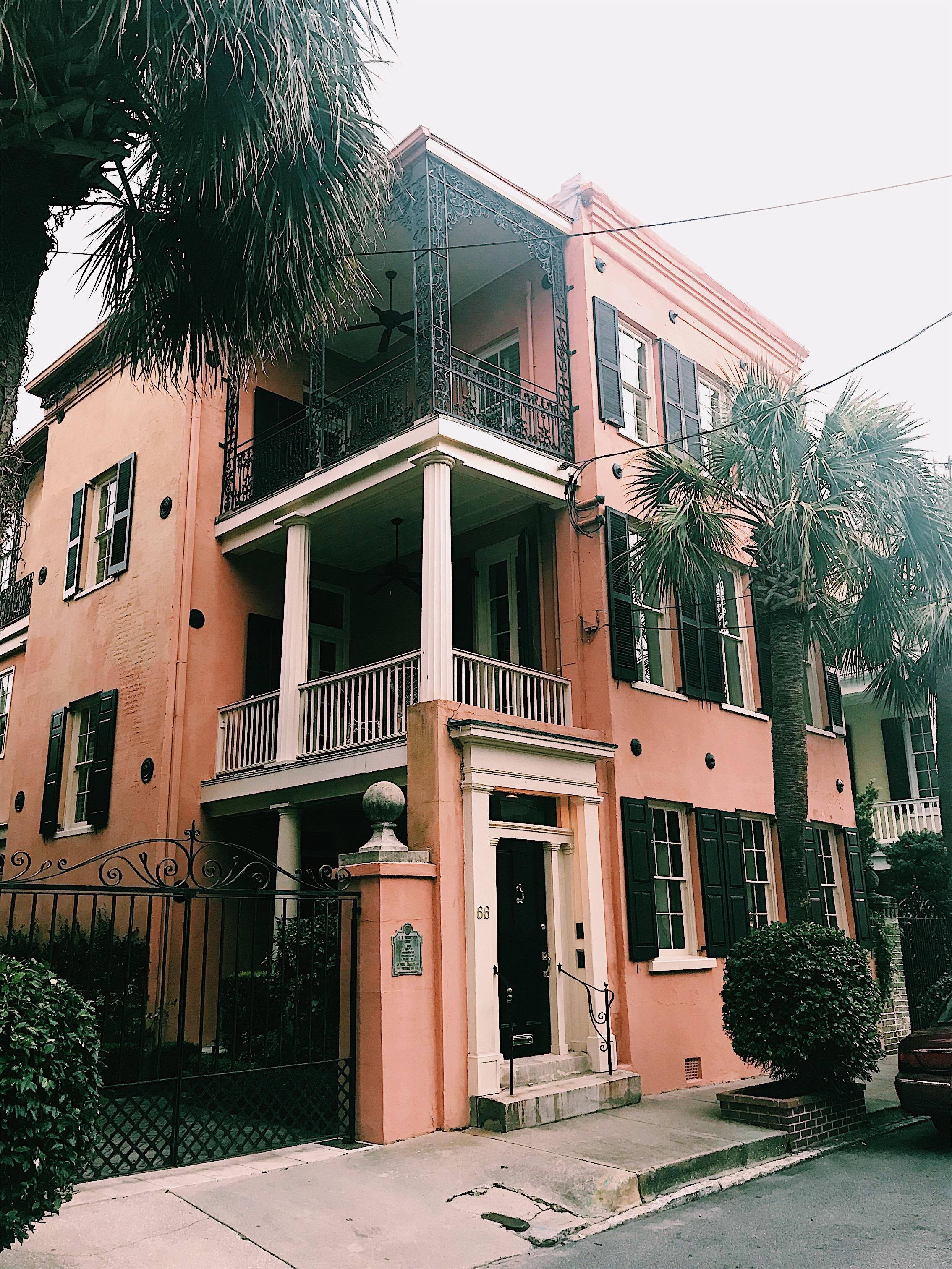 Charleston pink row house house
