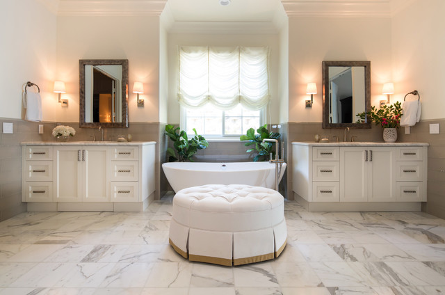 traditional white bathroom designed by lori Dennis