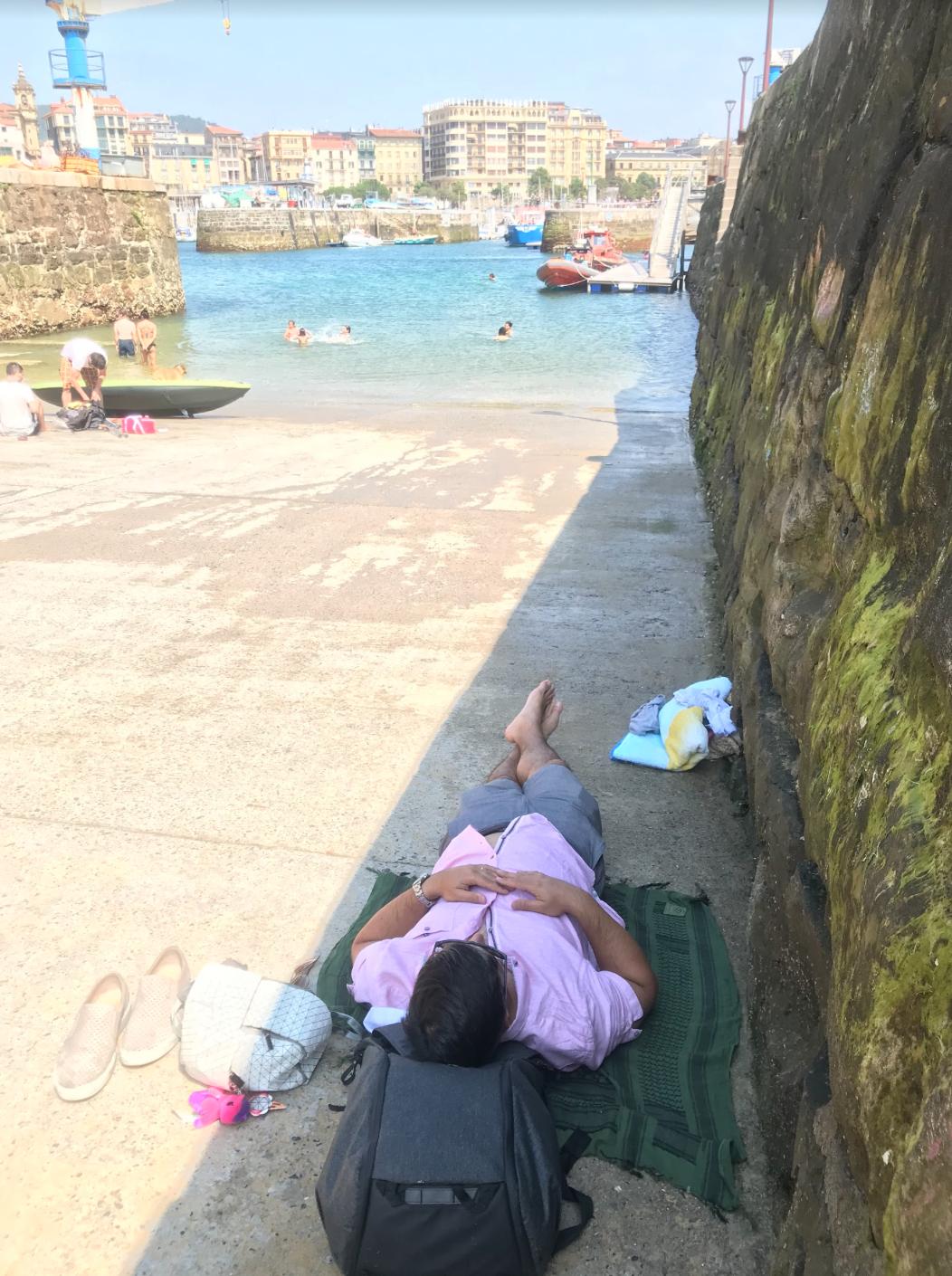 relaxing on la rampa in san sebastian