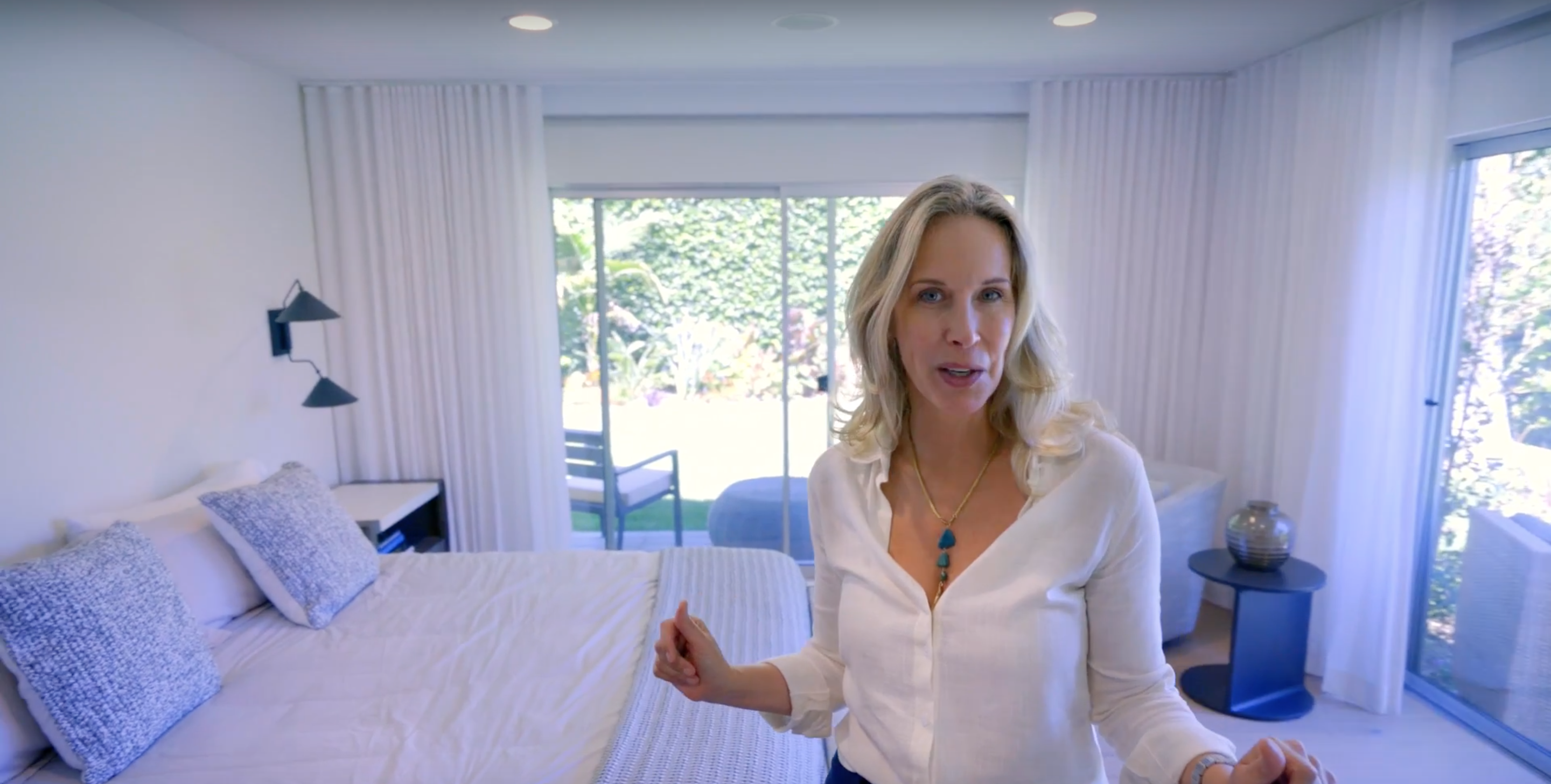 monochromatic bedroom in the sunset idea house in beverly hills ft Lori Dennis for Lamps Plus