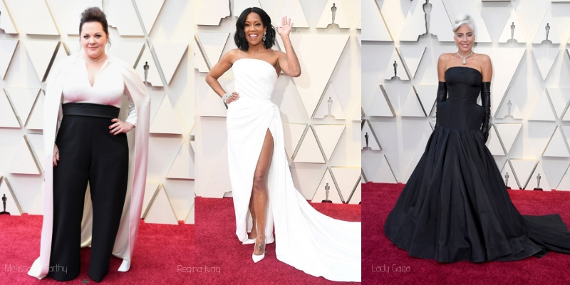 melissa mccarthy, regina king, and lady gaga on the oscars red carpet