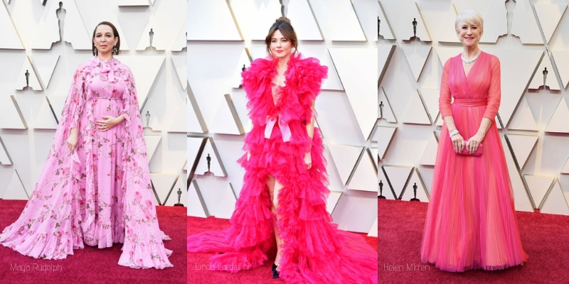 Maya Rudolph, Linda cardellini, and helen mirren in pink gowns on the oscars red carpet