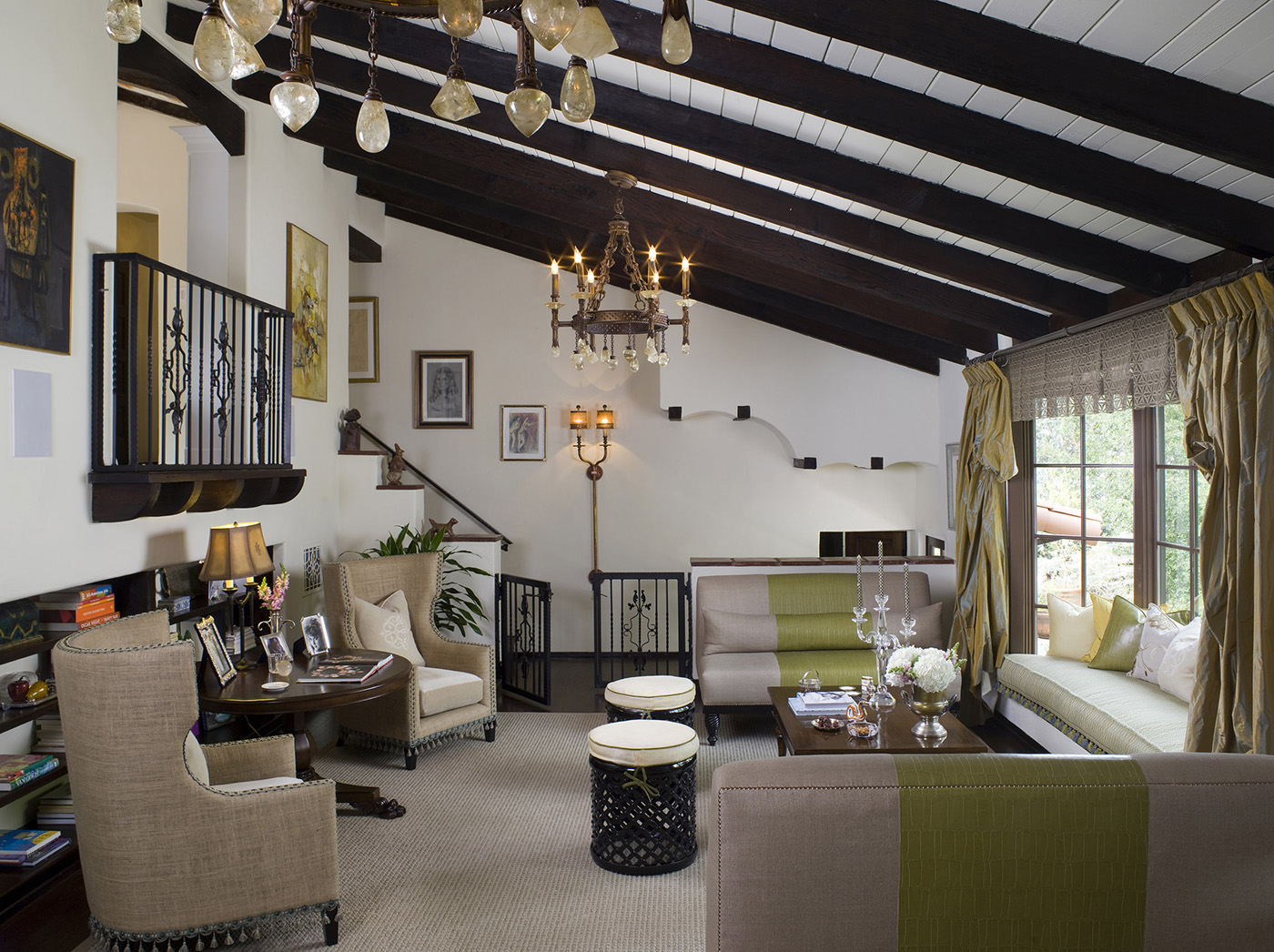 hip hacienda with traditional wooden beam ceilings and groovy lime green design details