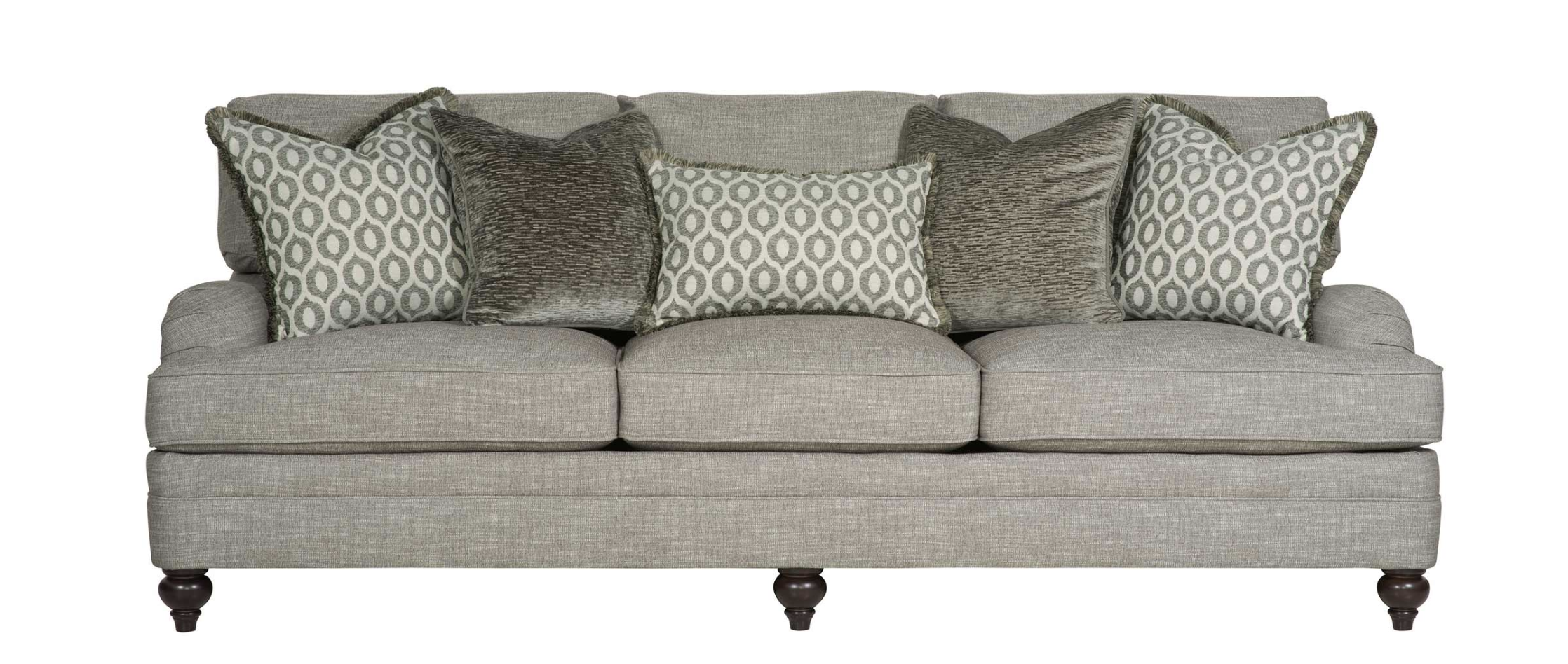 grey luxury couch from bernhardt with patterned throw pillows