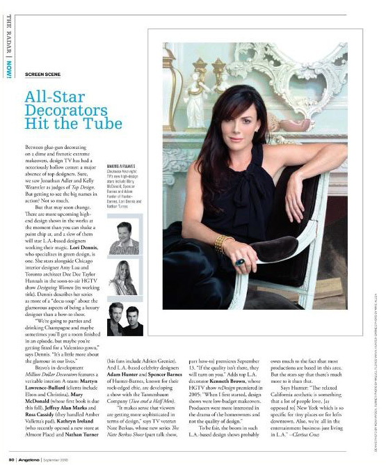 Celebrity Los Angeles Interior Designer Lori Dennis Angeleno Magazine September, 2010