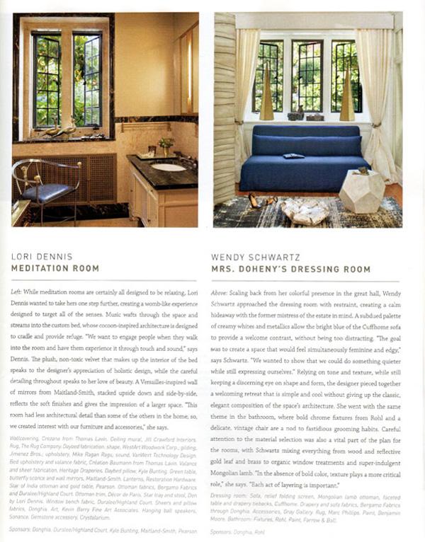 Celebrity Los Angeles Interior Designer Lori Dennis Los Angeles Luxe Magazine January, 2012