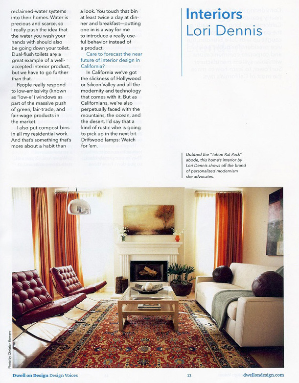 Celebrity Los Angeles Interior Designer Lori Dennis Dwell Magazine June, 2010