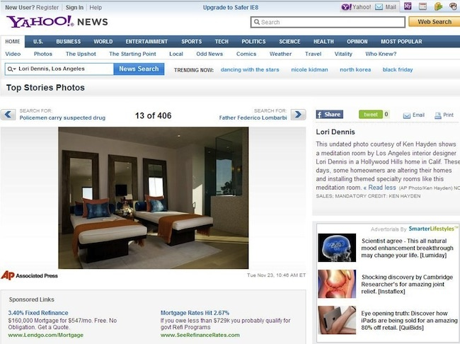 Celebrity Los Angeles Interior Designer Lori Dennis Yahoo News November, 2010