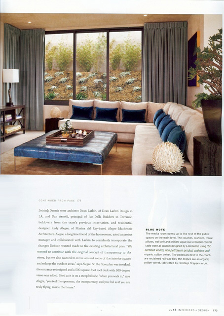 Celebrity Los Angeles Interior Designer Lori Dennis Luxe Magazine November, 2010